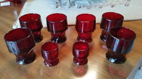 Red Ruby Tumblers / Glasses - Georgian Pattern - 6 large, 2 small in Naperville, Illinois