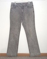 Style & Co Boot Cut Gray Acid Wash Bling Studded Button-Flap Jeans sz 10 W32 L32 in Morris, Illinois