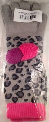New Hanna Andersson Girls Cozy Gloves Pink Leopard Size L NWT Pom Pom in Bolingbrook, Illinois