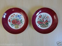 set of 2  7.5'' art hand painted flowers red/white plates with wall hook in Lockport, Illinois