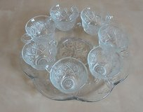 7 cups and plate art glass set 12'' in Lockport, Illinois