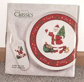 New SANTA Stoneware Cake Plate & Server Pie Signature Housewares Holiday Classic in Morris, Illinois