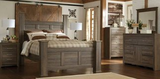 *** BRAND NEW *** ASHLEY QUEEN RUSTIC GREY GRAY POST BED SET *** in Fort Campbell, Kentucky
