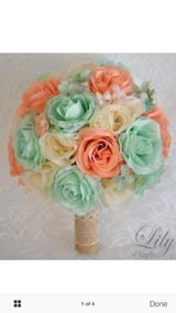 17 piece package silk flower wedding bridal bouquet mint peach spa rustic burlap in New Orleans, Louisiana