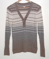 Sonoma 2 Layer Look Light Weight Striped Sweater Womens Large Beige Ivory Gray in Morris, Illinois