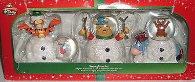 New RARE Disney Store Exclusive Set of 3 Winnie The Pooh Mini Snow Globes in Joliet, Illinois