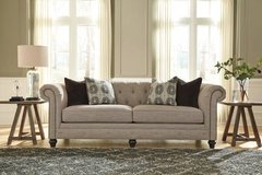 *** BRAND NEW *** ASHLEY ROLLED ARM NAIL HEAD TRIM LINEN SOFA *** in Fort Campbell, Kentucky