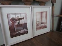 Framed Art*Pair of Framed Shabby/Cottage Style Photographs*Brass Bed, Chair with Hat, Lacey Curt... in Algonquin, Illinois