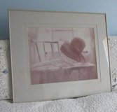"""Framed Cottage Style Photograph***Chair with Hat, Lacey Curtains***Pink Tones***28"""" by 24"""" in Algonquin, Illinois"""