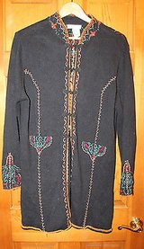 Coldwater Creek Black Coat-Length Cardigan, Embroidered,Chinese Knot Closures, L in Joliet, Illinois