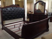 3pc King Sized Leather Tufted Bedroom Set(King Bedframe, 9 Drawer Dresser and Mirror)-Black in Naperville, Illinois