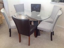 7pc Round Glass Upholstered/Leather Dining Set(Grey + Brown) in Naperville, Illinois