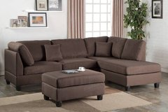 New Chocolate Brown Linen Sofa Sectional and Ottoman FREE DELIVERY* in Miramar, California