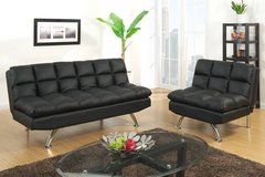 Black Sofa Futon Bed + Chair Sectional Optional FREE DELIVERY in Miramar, California