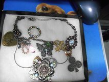 Silver Tone Bling Necklace with different pastel color rhinestones in Houston, Texas