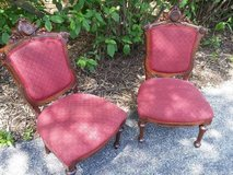 Vintage Upholstered Chairs with Intricate Carving in Naperville, Illinois