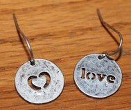 Silver 1/2 inch Diameter Circle Pierced Earrings, LOVE & a Heart in Joliet, Illinois