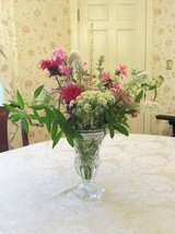 """LEAD CRYSTAL FLOWER VASE 9 1/4"""" x 6"""" Glass Footed Heavily Faceted VTG in Brookfield, Wisconsin"""