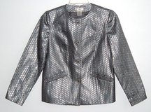 Laura Ashley Silver Metallic Patterned Jacket PS Petite Small Button Front in Yorkville, Illinois