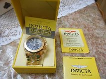 new men's invicta pro diver scuba 18kt gold plated chronograph swiss watch! mib in Houston, Texas