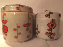 set of 2 hong horizons pottery cylinder canister & lid cookie jars mid modern in Bartlett, Illinois