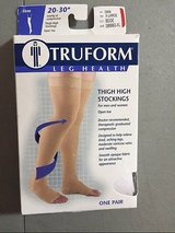 NEW truform 0868 compression stockings thigh high open toe 20-30 mmhg beige xl new * in Houston, Texas