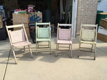 4 Antique Wooden Folding Chairs...Beautiful! in Chicago, Illinois