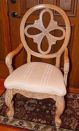 Light Wood Carved Side Chair, Medalion Back, Ivory Upholstery in Oswego, Illinois