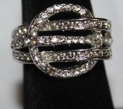 Silver Tone Ring, New, Never Worn, Circle Design w/Rhinestones, Size 6.5 in Glendale Heights, Illinois