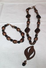 Brown Beaded Medallion Necklace and Bracelet, EUC! in Aurora, Illinois