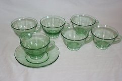 set of 6 depression glass cups 3 7/8 x 2 1/2 ; 6 matching saucers, 5 7/8 in Houston, Texas