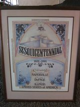 Naperville Sesquicentennial Print 1831-1981 Framed Limited Edition 300 in Naperville, Illinois