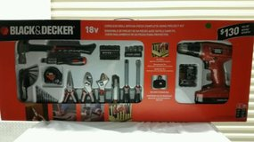 Black & Decker 18V Cordless Nicad Drill/Driver With 64 pc Assessory Kit - NEW! in Aurora, Illinois