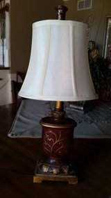 Lamp - Ivory Silk Shade with Burgundy and Gold Base in Aurora, Illinois