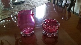 Creamer and Sugar - Cranberry Glass - Antique in Orland Park, Illinois