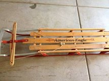 Wooden sled, American Eagle in San Diego, California