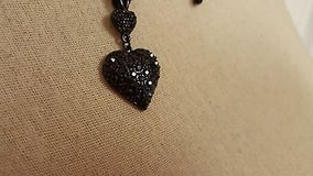 """nwt express 18"""" black crystal heart love statement necklace pendant chain bead in Houston, Texas"""