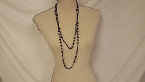 "nwt express 38"" silver tone 2 strand black white gray statement necklace chain in Houston, Texas"