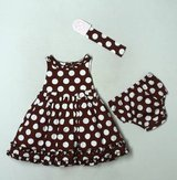 MAGGIE & ZOE Brown Polka Dot Holiday 3 pc Dress 18 Months (T=33) in Fort Campbell, Kentucky