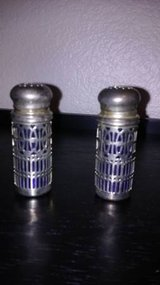 COBALT BLUE AND SILVER PLATED SALT AND PEPPER SHAKERS U.K. in Sacramento, California
