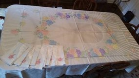 Tablecloth and 8 Napkins - Vintage Damask -Ivory-Belonged to Grandma in Naperville, Illinois