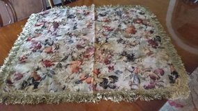 Tablecloth / Cover- Floral  Damask with Fringe - Neutrals and Beige in Westmont, Illinois