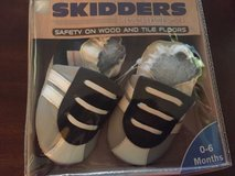 skidders original baby boy shoes leather booties blue- gray and white sz 0-6 m in Morris, Illinois
