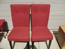 2 RED CLOTH HIGH BACKED CHAIRS in Naperville, Illinois