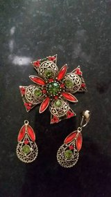 Emmons Maltese Cross Brooch and Earring Set - in Chicago, Illinois