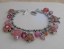 Brighton Flower Bracelet- Pink Orange Silver Crystals in Orland Park, Illinois