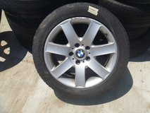 "used bmw oem 17"" light alloy wheels star spokes with michelin 245/45r17 80285 in Fort Carson, Colorado"