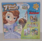 NEW Disney 7 Wooden  Puzzles Sofia Jake & Neverland Pirates Doc McStuffins  In Wood Stor... in Morris, Illinois