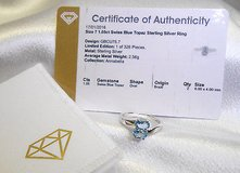 sterling silver 925, oval topaz (blue), 1.05 tcw, ring, sz 7 in Camp Lejeune, North Carolina