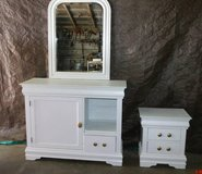 """White Dresser/mirror and nightstand  $ 140  """"The Back Forty"""", Adel in Moody AFB, Georgia"""